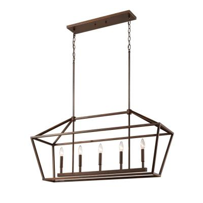 3245-RBZ 5-Light 40 in. Wide Taper Candle Rubbed Bronze Chandelier