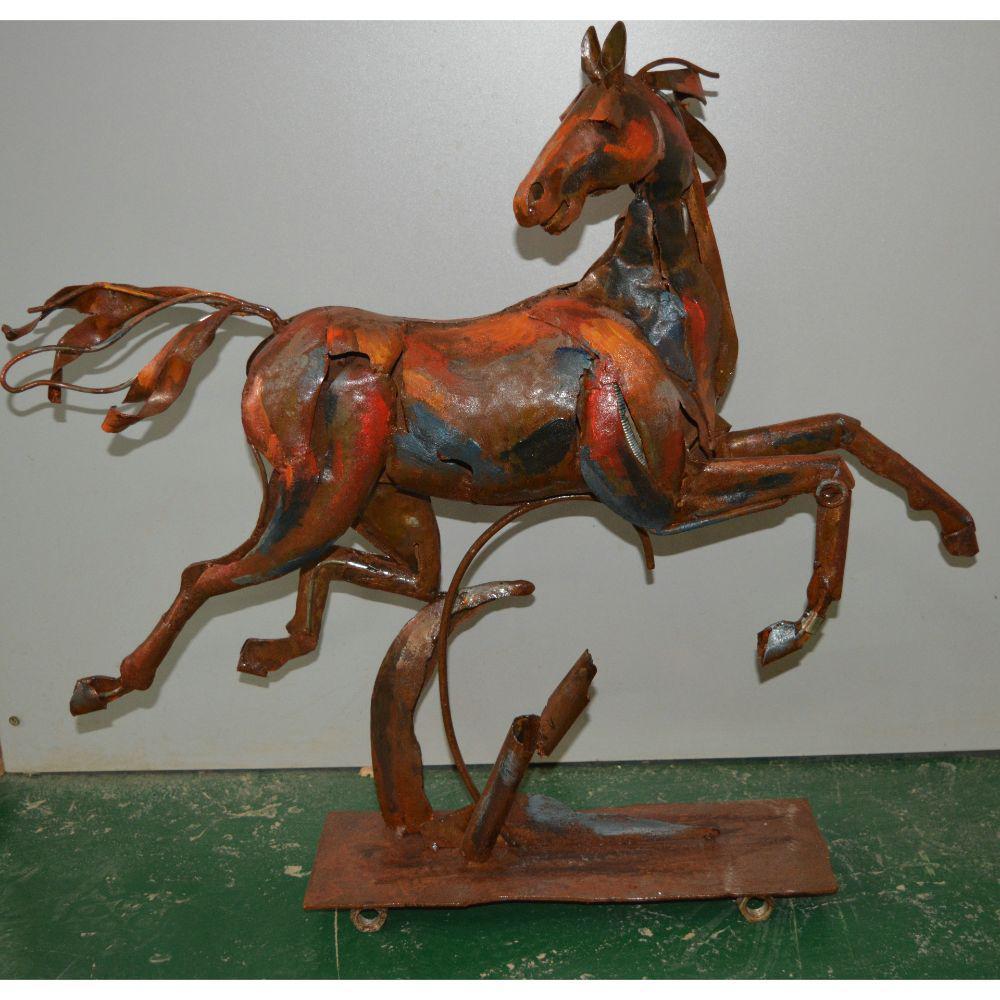 Flying Horse Brown Metal Sculpture