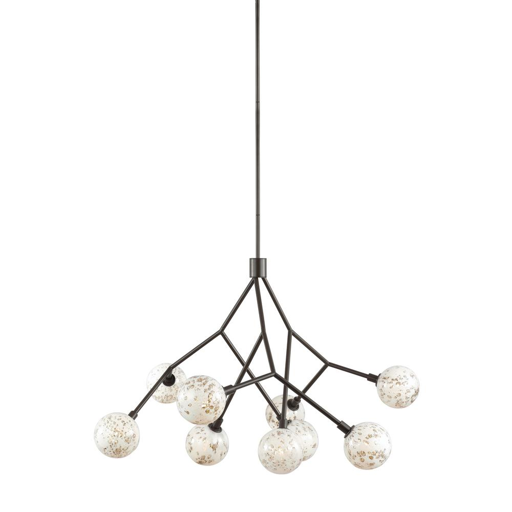 LBL Lighting Malena 9-Light Antique Bronze Chandelier with Pearl Bubble Glass Shade The Malena 9-Light Chandelier by LBL Lighting is best categorized as otherworldly. Pearl glass orbs fashioned after the moon adorn the tips of Antique Bronze arms. The Malena chandelier features a swivel canopy ideal for sloped ceilings and other difficult places requiring light.