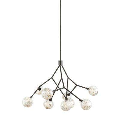 Malena 9-Light Antique Bronze Chandelier with Pearl Bubble Glass Shade