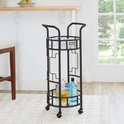 Jules Round Hammered Black Bar Cart