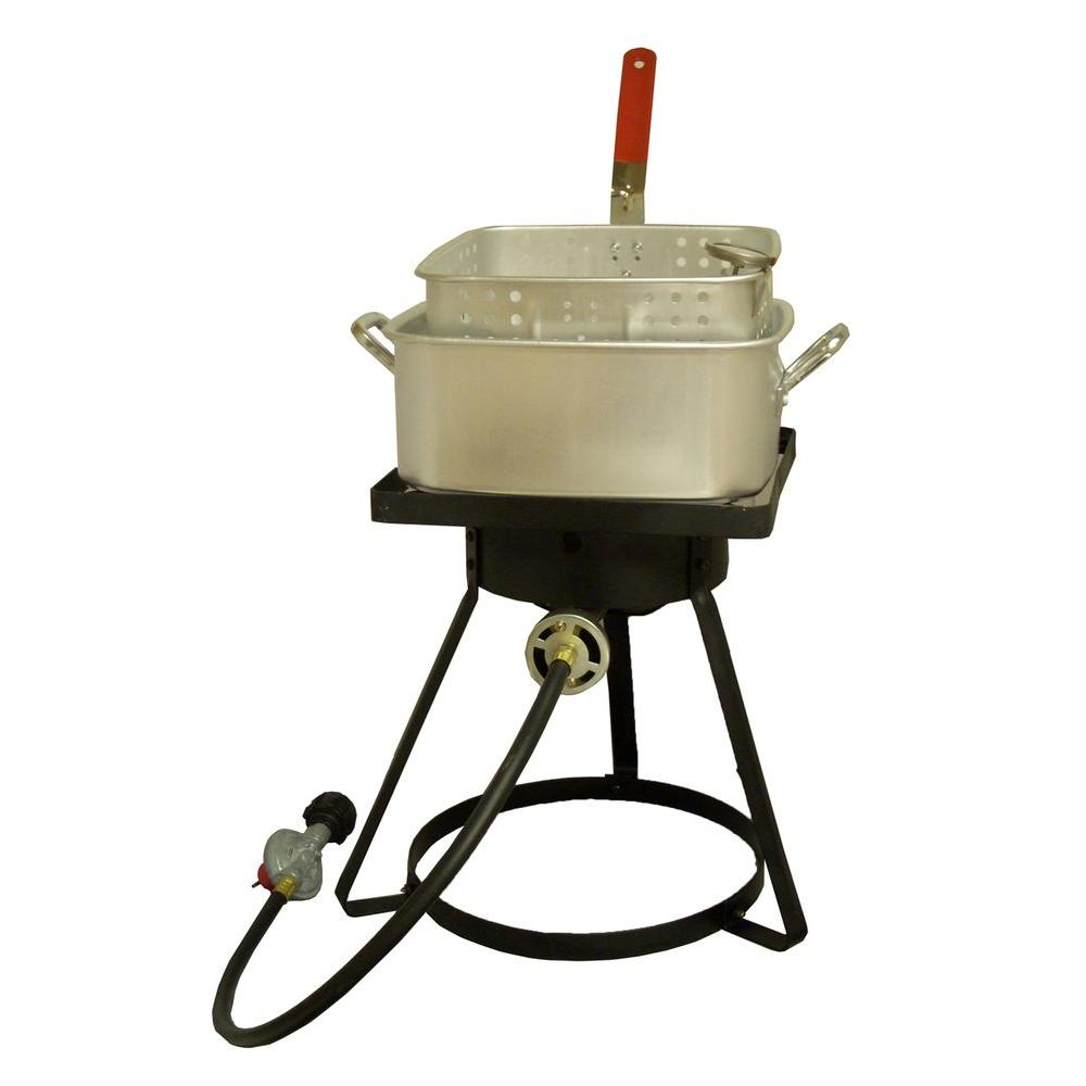 King Kooker 54,000 BTU Square Top Bolt Together Propane Gas Outdoor Cooker with 12 qt. Square Aluminum Fry Pan