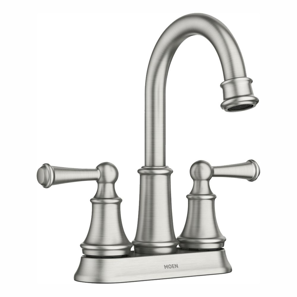 MOEN Brecklyn 4 in. Centerset 2-Handle Bathroom Faucet in Spot Resist Brushed Nickel