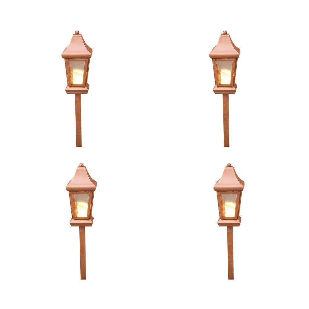 Illumine 1-Light 40-Watt Low Voltage Raw Copper Outdoor Pathlight (4-Pack)