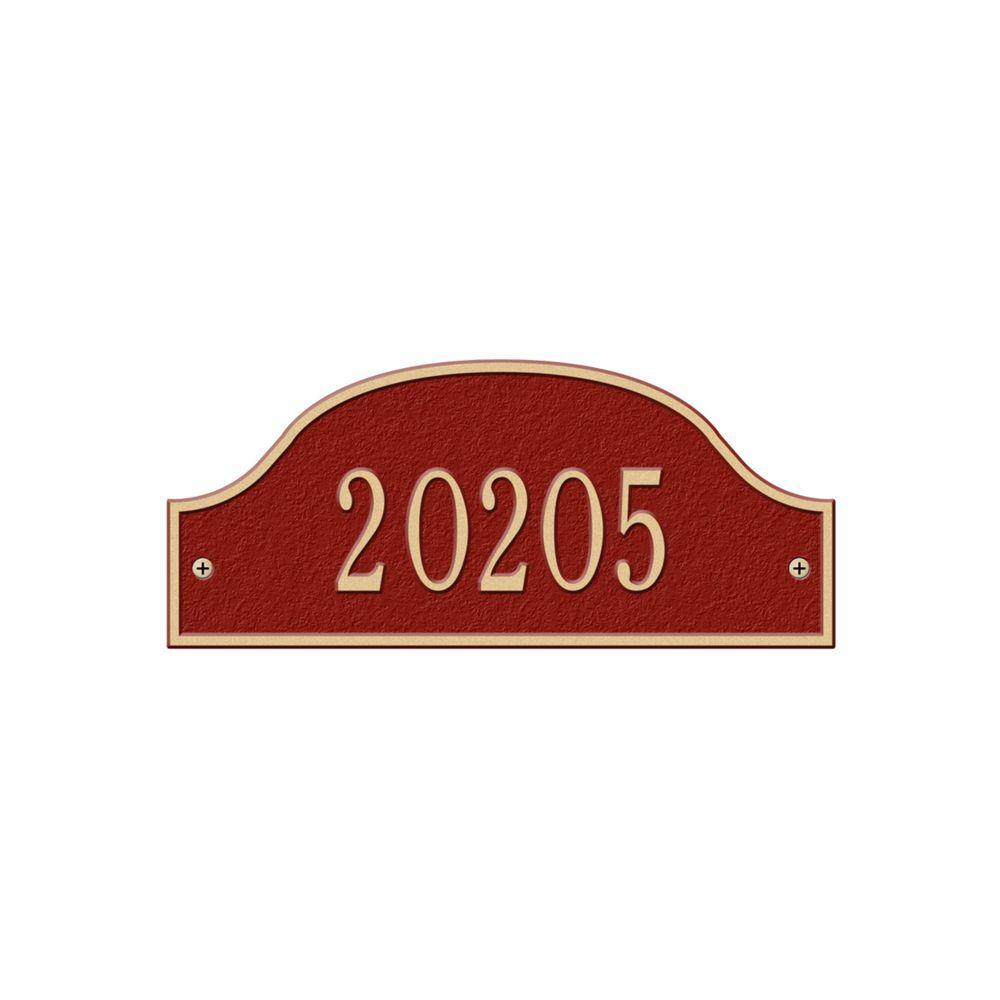 Admiral Petite Arch Red/Gold Wall One Line Address Plaque