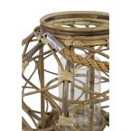 Litton Lane Round Brown Woven Rattan Lantern Candle with Burlap Jute Rope Handle and Glass Insert