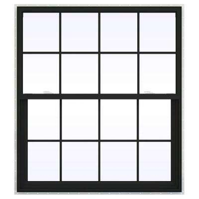 48 in. x 60 in. V-2500 Series Bronze FiniShield Vinyl Single Hung Window with Colonial Grids/Grilles