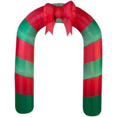75.59 in. W x 24.80 in. D x 90.16 in. H Lighted Inflatable Archway Red Green Striped with Bow