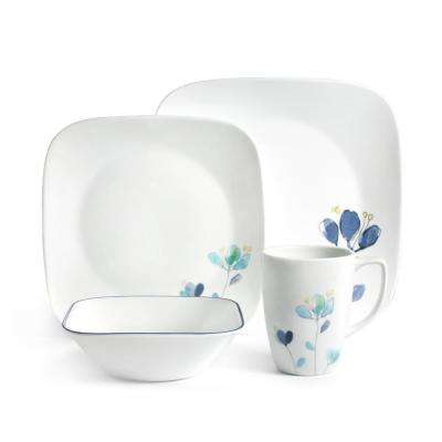 Square 16-Piece Blue Flower Petals Dalena Dinnerware Set