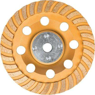 5 in. Turbo Low-Vibration Diamond Cup Wheel, Compatible with Angle Grinders with electronic controller