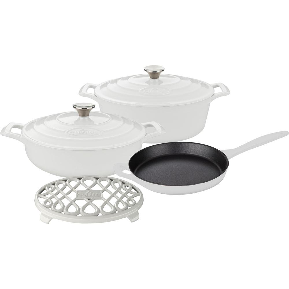 6-Piece Enameled Cast Iron Cookware Set with Saute, Skillet and Oval