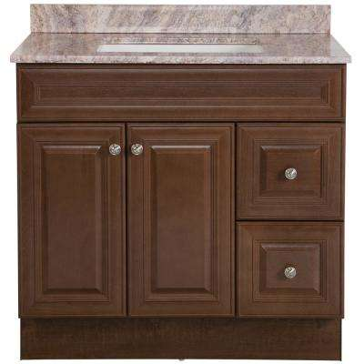 Glensford 37 in. W x 22 in. D Bath Vanity in Butterscotch with Stone Effects Vanity Top in Cold Fusion with White Sink