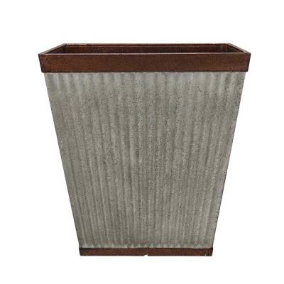 Westlake 16 in. x 16 in. Rustic Galvanized High-Density Resin Square Planter