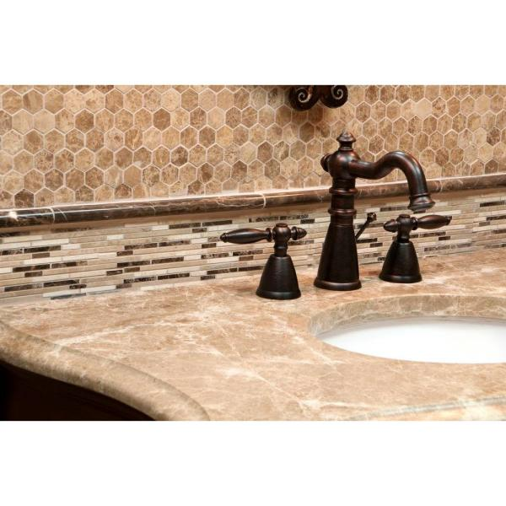5//8X2 Brick Polished 3X6 12X12 Marble Mosaic Tile Bamboo Collection Sample Emperador Dark MM 3104