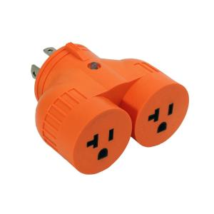 Generator 1-Volt to 2-Volt Outlet Adapter L14-30P 30 Amp 4-Prong Loking Plug to...