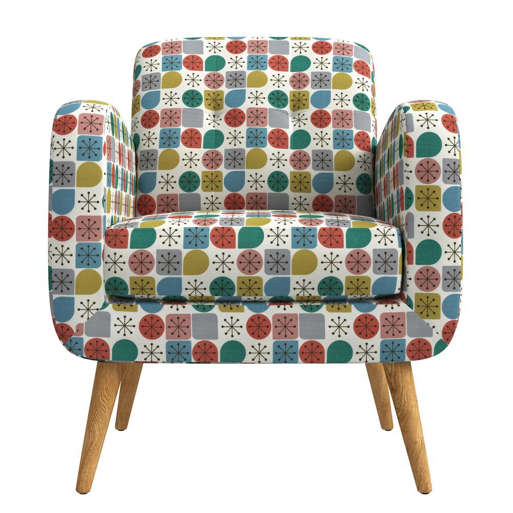 Kingston Pink Starlight Modern Print Mid Century Modern Arm Chair