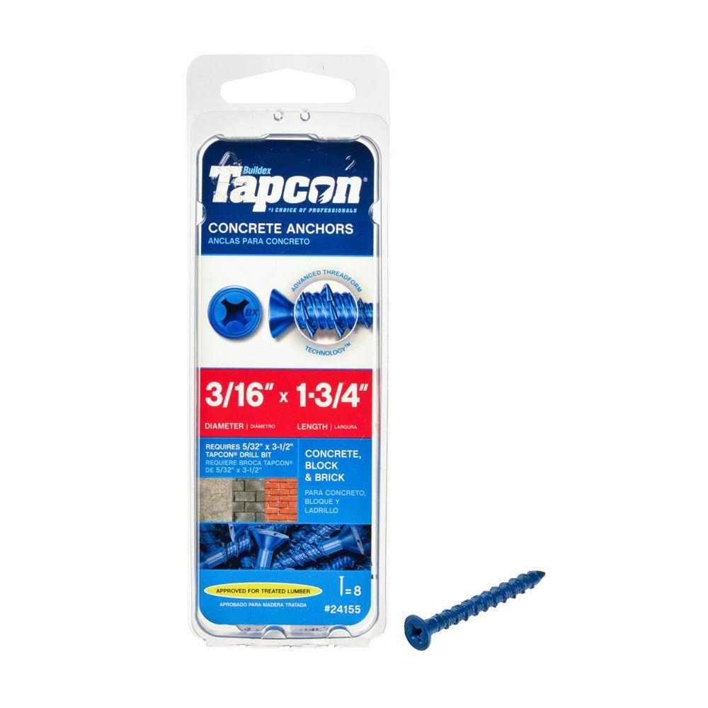 "Tapcon 3//16/""x1-3//4/"" Concrete//Masonry Screw Anchors 100"