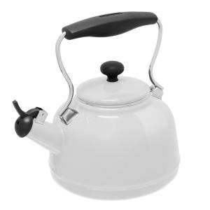 Vintage 6.8-cups Enamel-On-Steel Glossy White Tea Kettle