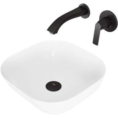Camellia Matte Stone Vessel Bathroom Sink Set with Aldous Wall Mount Faucet in Matte Black