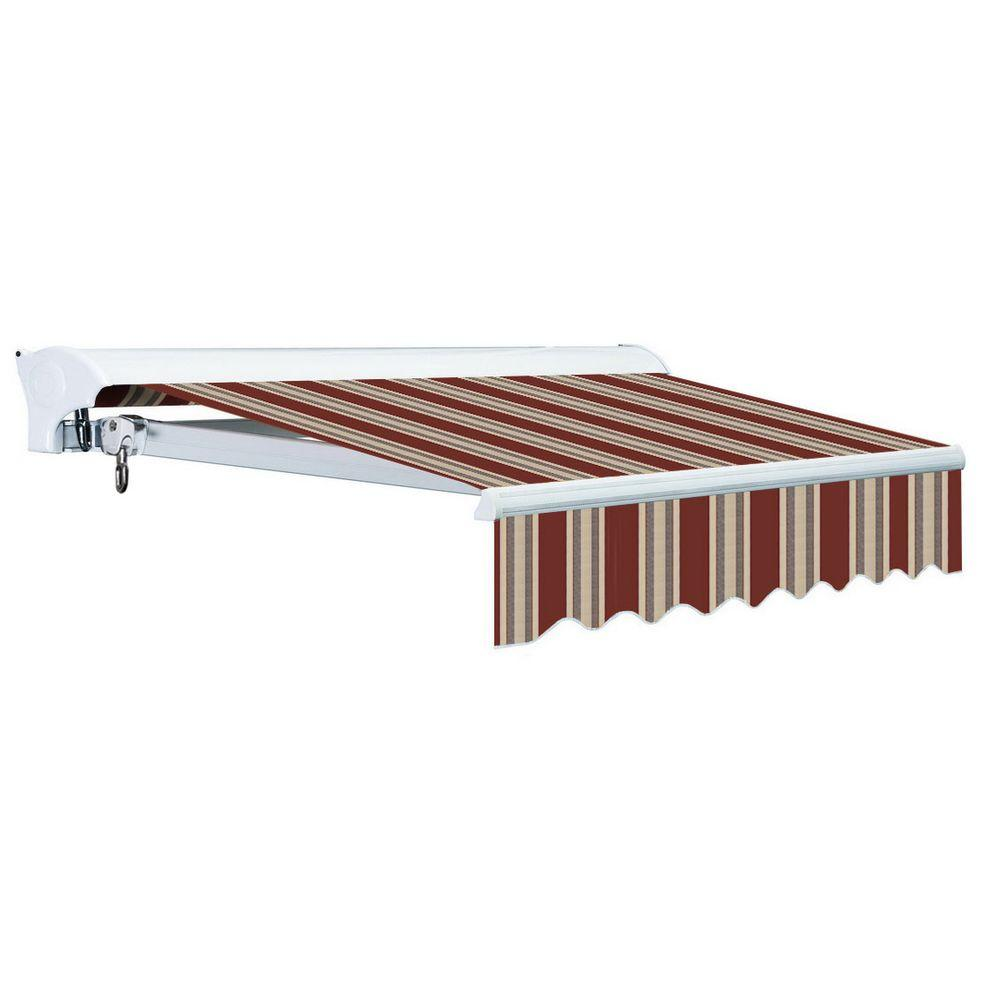 Advaning 10 ft. Luxury L Series Semi-Cassette Manual Retractable Patio Awning (98 in. Projection) in Brick Red/Beige Stripes