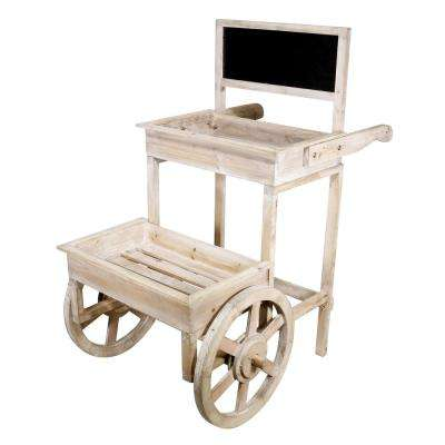 34 in. Tall Alpine Wooden Cart Plant and Display Stand with Chalkboard