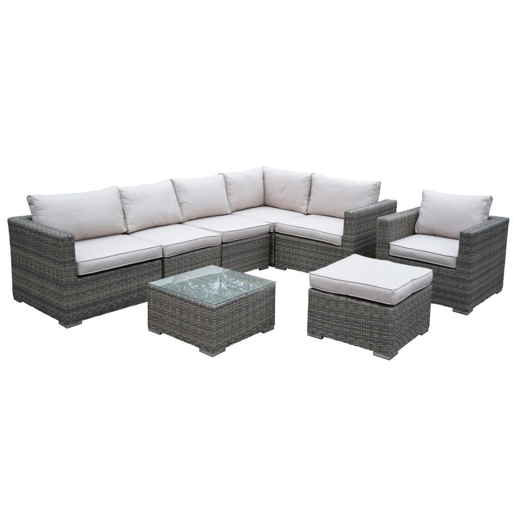 Borneo 8-Piece Patio Conversation Set with Oatmeal Cushions
