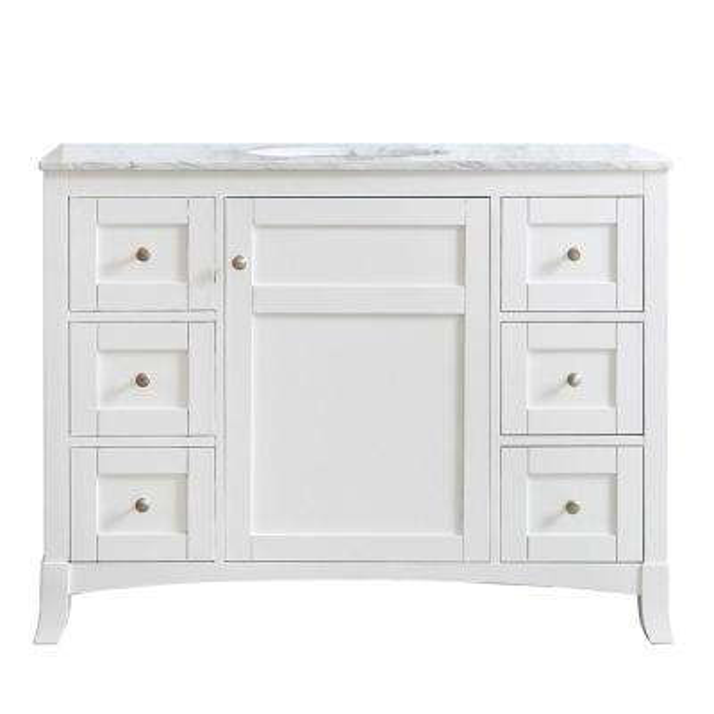 Arezzo 48 in. W x 22 in. D x 36 in. H Vanity in White with Marble Vanity Top in Carrara White with White Basin