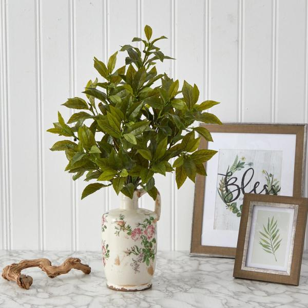 24in. Coffee Leaf Artificial Plant in Floral Pitcher (Real Touch)