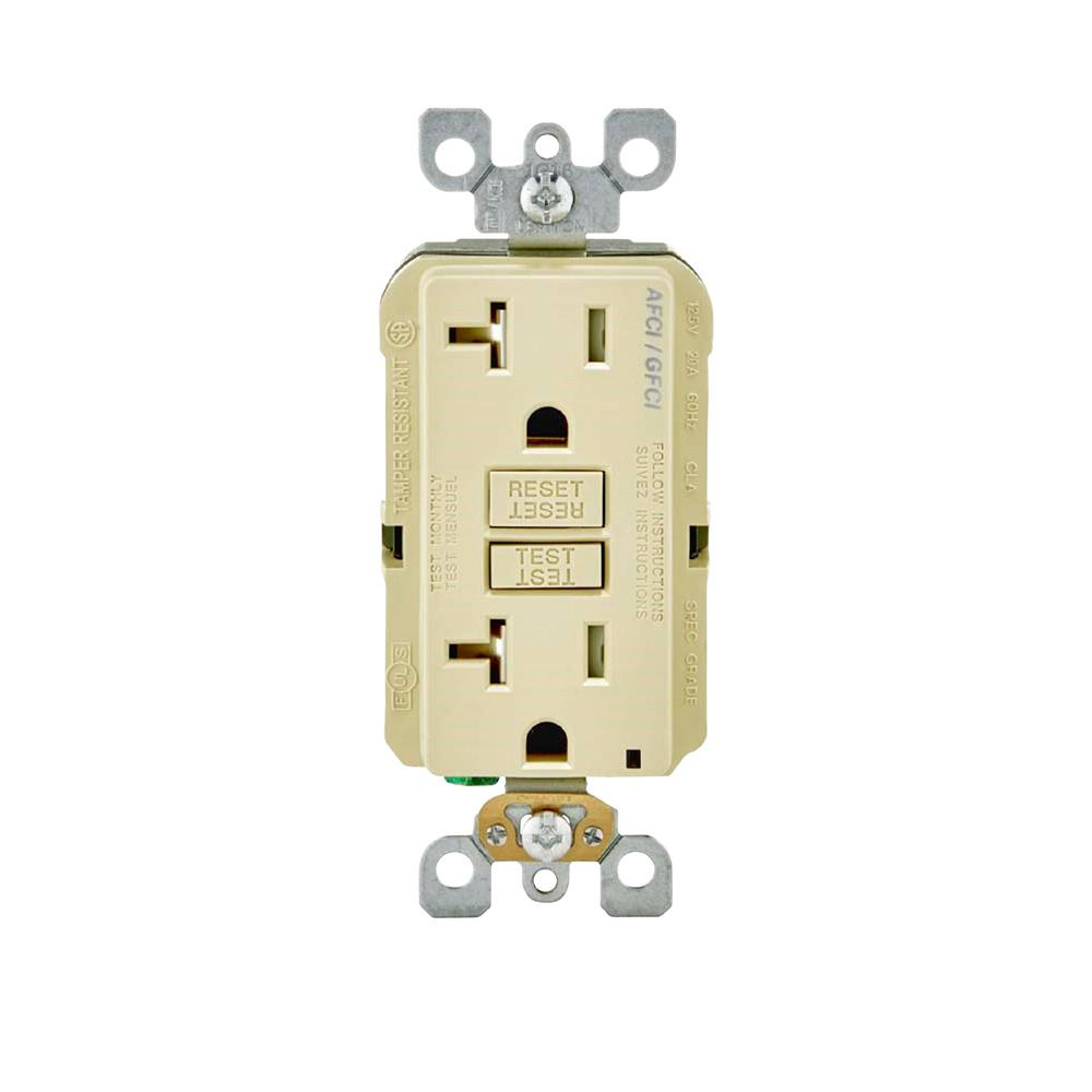 20 Amp 125-Volt AFCI/GFCI Dual Function Outlet, Ivory