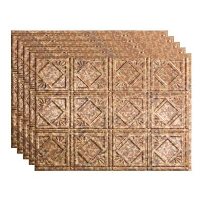 Traditional 4 18 in. x 24 in. Cracked Copper Vinyl Decorative Wall Tile Backsplash 15 sq. ft. Kit