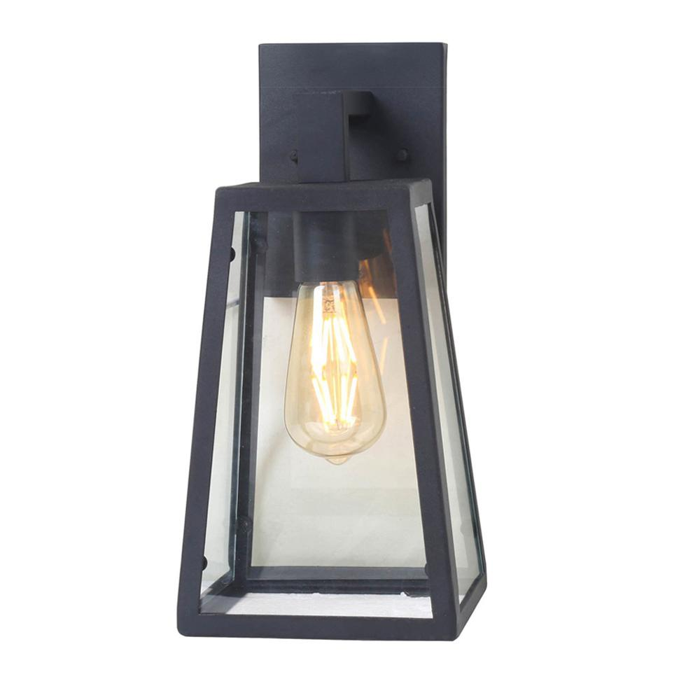 1-Light Sand Black Small Outdoor Wall Mount Sconce with Clear Glass