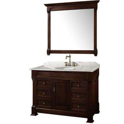 Andover 48 in. Vanity in Dark Cherry with Marble Vanity Top in Carrera White and Mirror