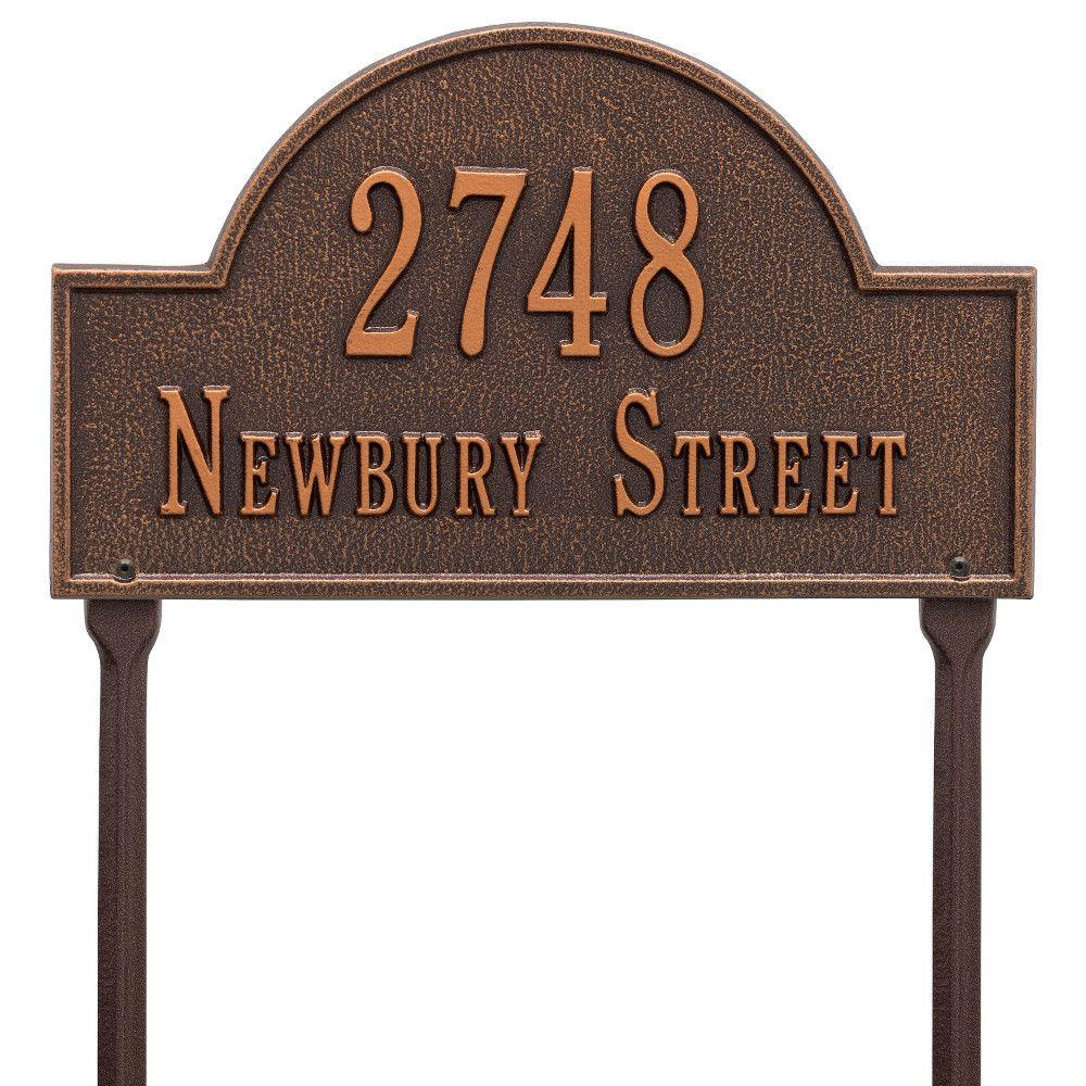 Arch Marker Standard Antique Copper Lawn 2-Line Address Plaque