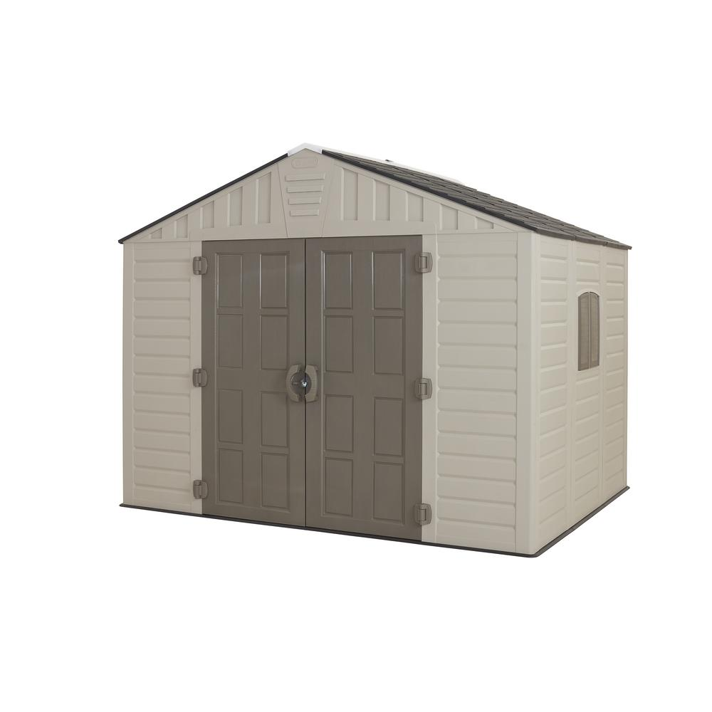 Us leisure 10 ft x 8 ft keter stronghold resin storage for Resin garden shed