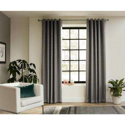 63 in. Intensions Curtain Rod Kit in Forest with Bell Finials and Ceiling Brackets