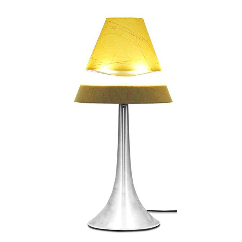 All The Rages 16.5 in. Brushed Chrome Touch Control Hover Lamp with Floating Parchment Shade