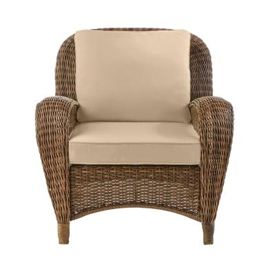 Beacon Park Brown 3-Piece Wicker Outdoor Stationary Chat Set with Toffee Cushions