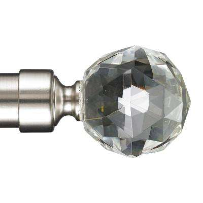 6 ft. Non-Telescoping 1-1/8 in. Single Curtain Rod with Rings in Stainless with Gemstone Finial