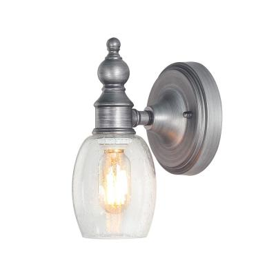 1-Light Aged Silver Vanity Light with Seeded Glass Shade