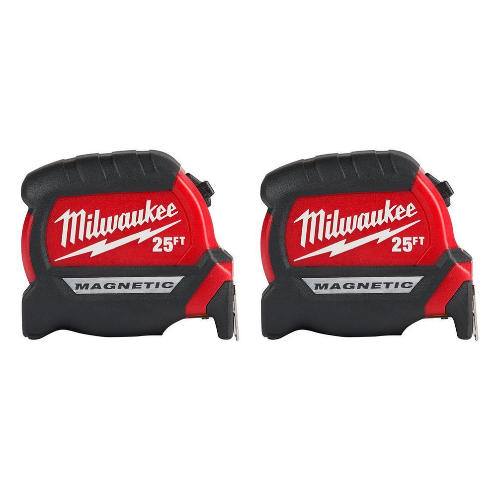 2 Pack Milwaukee 25 Ft Magnetic Tape Measure