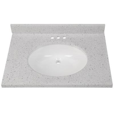 31 in. W x 22 in. D Solid Surface Vanity Top in Silver Ash with White Sink
