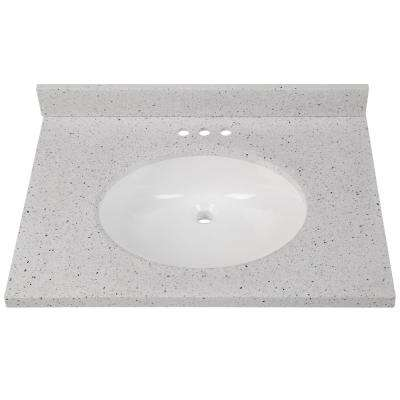 31 in. W x 22 in. D Solid Surface Vanity Top in Silver Ash with White Basin