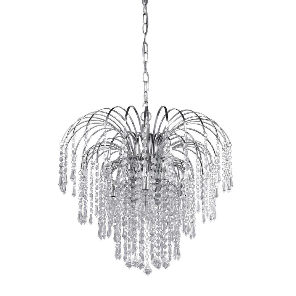 Olivia 4-Light Chrome Chandelier with Acrylic Jewels