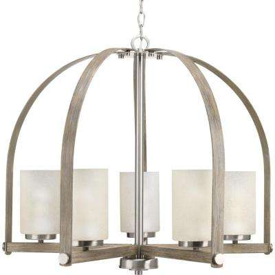 Aspen Creek Collection 5-light Brushed Nickel Chandelier with Natural Parchment Glass Shade