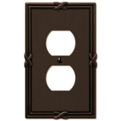 Ribbon and Reed 1 Gang Duplex Metal Wall Plate - Aged Bronze