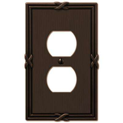 Ribbon and Reed 1 Duplex Wall Plate - Aged Bronze