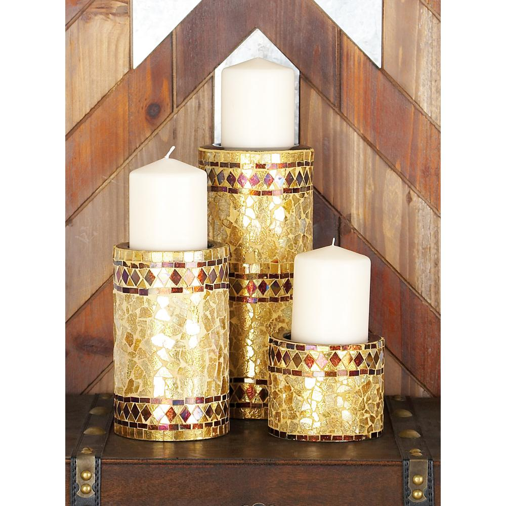 Multicolor Jewel Tone Iron Metal and Glass Mosaic Pillar Candle Holders