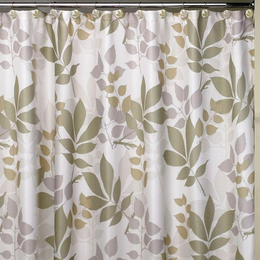 Creative Bath Shadow Leaves 72 In Botanically Themed Shower Curtain Set