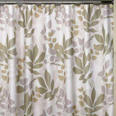 Shadow Leaves 72 in. Botanically Themed Shower Curtain Set