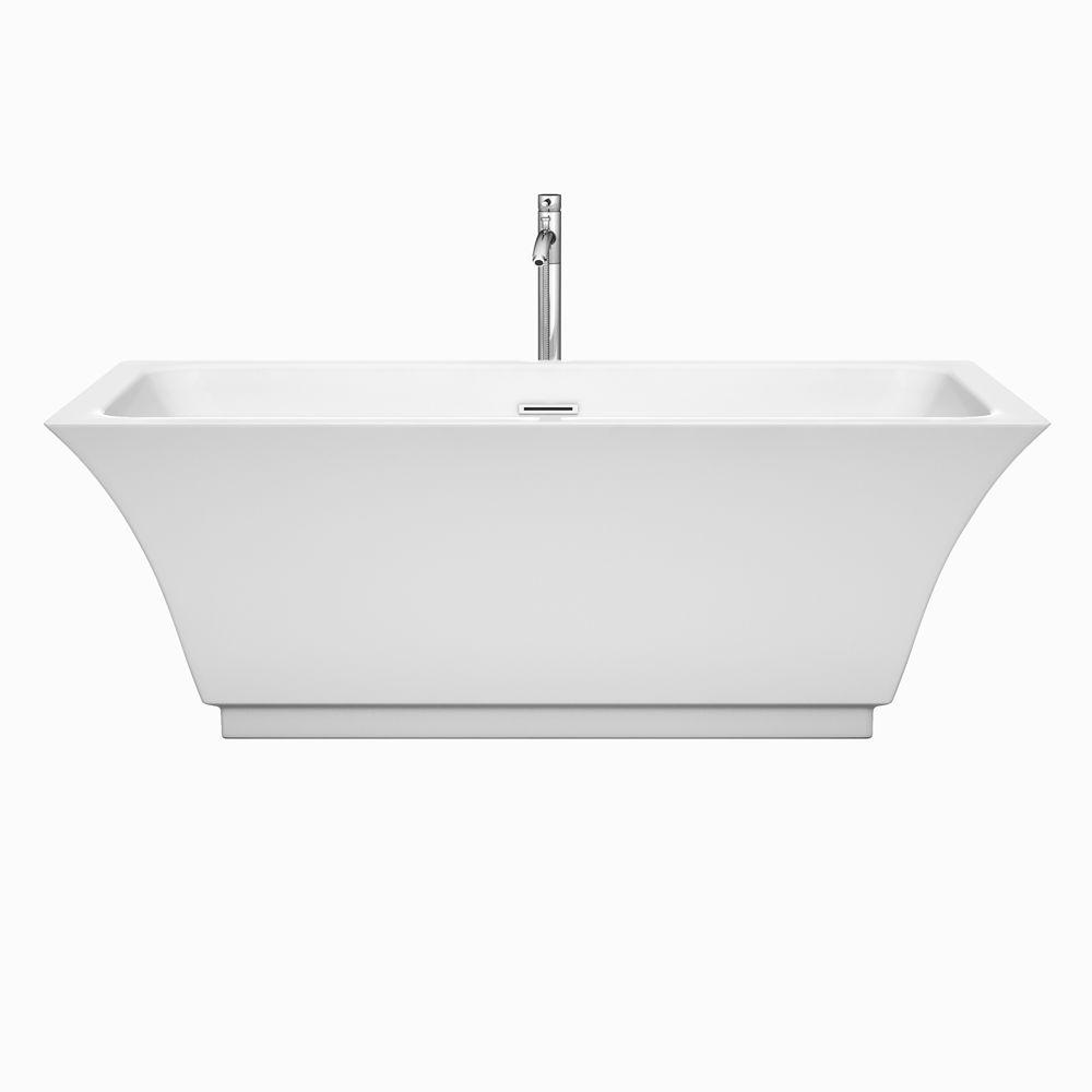 Acrylic Flatbottom Center Drain Soaking Tub In White With Polished
